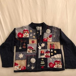 Sweaters - Ugly Christmas Sweater - zip up cardigan